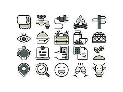 Camping icons outdoors fire water camp camping linear line.lines design illustration vector minimal icons minimalism minimalist icon
