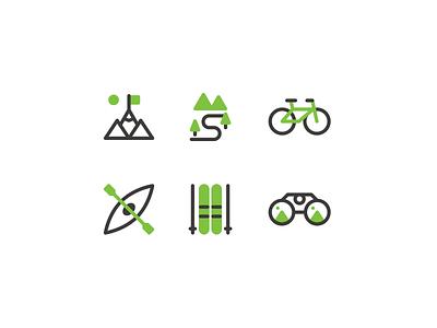 Trekking icons sports sport nature trek trekking linear lines line design illustration vector minimal icons minimalism minimalist icon