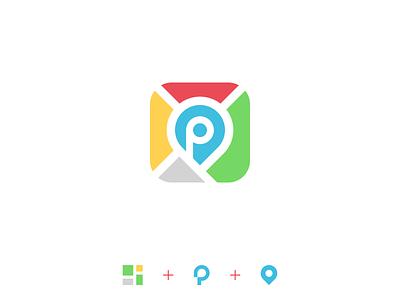 Parking app icon streets street driving drive car parking park app icon app brand logo design illustration vector minimal icons minimalism minimalist icon