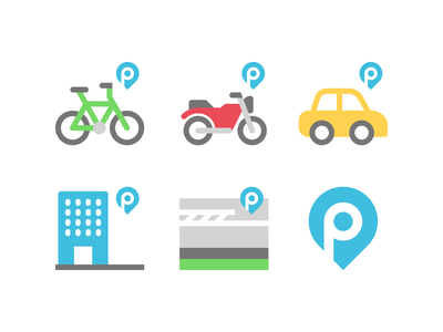 Parking icons building motorcycle bike streets street driving drive cars car parking park design illustration vector minimal icons minimalism minimalist icon