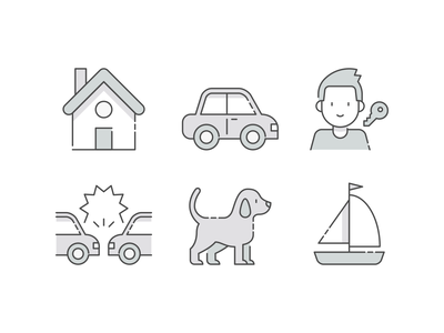 Insurance icons boat car home house key dog insurance lineal linear lines line design illustration vector minimal icons minimalism minimalist icon