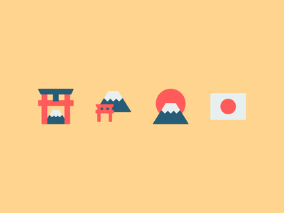 Japan icons mount fuji fuji japanese flag flag japan flag torii gate torii japanese japan design illustration vector minimal icons minimalism minimalist icon