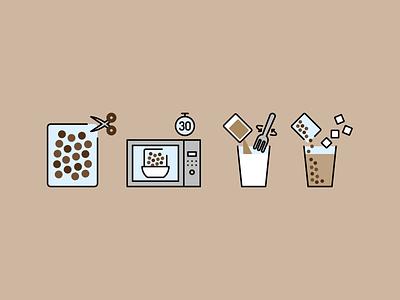 Bubble tea instructions instructions boba tea boba tea bubble tea design illustration vector minimal icons minimalism minimalist icon