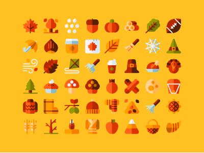 Autumn icons by Aldo Cervantes Saldaña on Dribbble