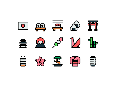 Japan icons japanese japan design lineal vector minimalistic color illustration lines minimal linear line minimalism icons minimalist icon
