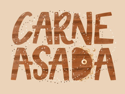 Carne asada mexican mexico carnivore grease salt foodie food steak meat illustration calligraphy lettering