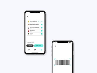 Shopon - pay&go app turquoise accessibility checkout barcode list supermarket minimal colorful ux ui design ui payment design