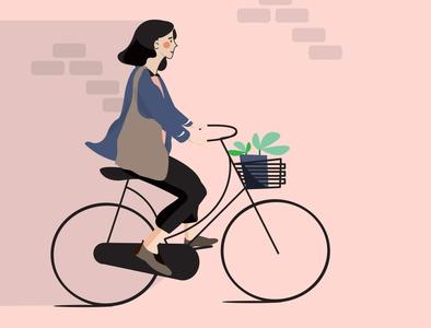Bike around the city digital illustrator illustration