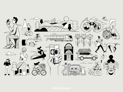 HOYNE MURAL branding vector mural editorial illustration design illustration
