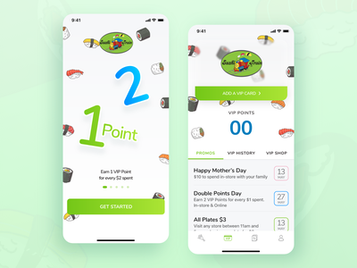 Sushi Train 🍣 icon food cards illustration ui ux mobile ui green ios mobile app sushi