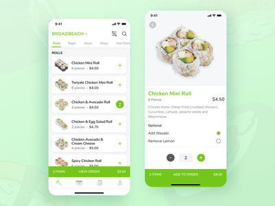 Sushi Train - Whats on the menu? clean ux ui tabs cart app design sushi mobile ui mobile cards green food