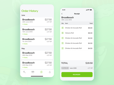 Sushi Train - Reordering reorder receipt clean ux ui sushi mobile ui mobile green food app