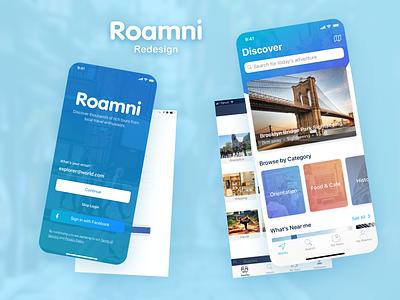Roamni Redesign map audio tour clean app mobile ux uiux ui blue redesign