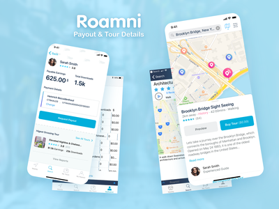 Roamni Redesign - Payouts & Tours design tours before and after bottom sheet map blue clean ux ui mobile app