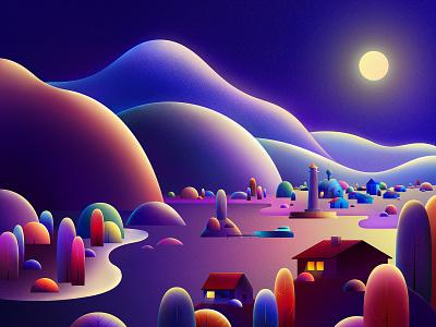 Night app flat logo web website animation branding vector illustrator illustration