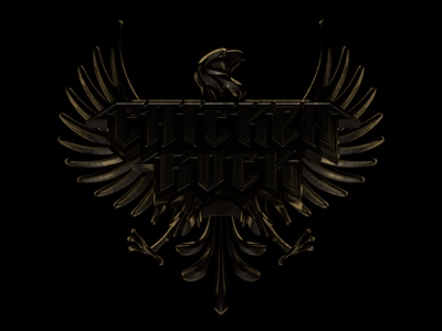 Chicken Rock logo black gold rock chicken eagle flat logo 3d design icon illustration