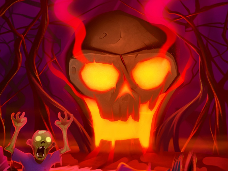 Illustration for Halloween cartoon zombie skull cartoon illustration halloween