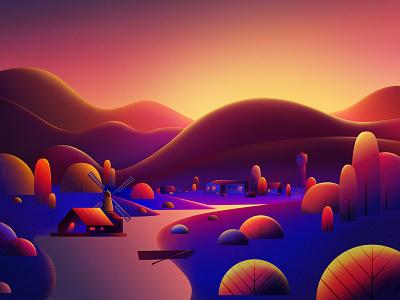 Sunset nature village sunset branding vector illustration design