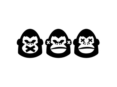 Three Wise Gorilla Logo gorillaz wise black chimp ape monkey gorilla animal vector logo for sale design minimalist logo