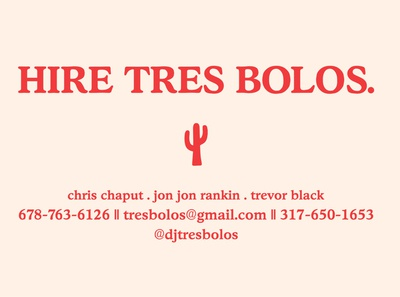 Tres Bolos (back business cards)