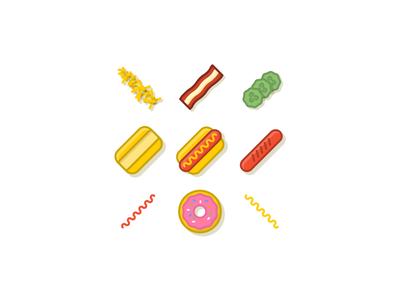 Foooooddd hot dog pickles potatos pay bun ketchup donut jelly mustard