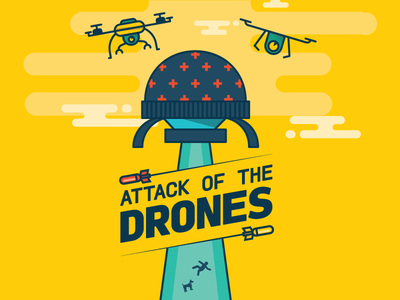 Attack of the Drones game drones videogame javascript js yellow attack planetarium helicopter ski