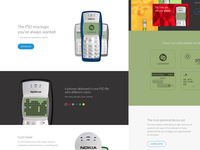 Nokia 1100 Mockup Landing Page nokia 1100 mockup colors flat apple psd free template april