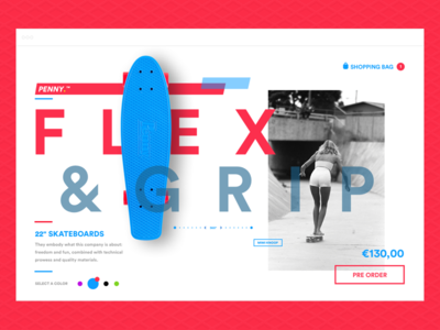 Penny Skateboard E-commerce concept red blue skateboard penny concept ecommerce responsive type