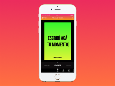 #MomentoCumbia iphone font green red color gradient ios app poster cumbia
