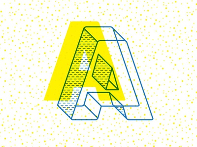 Sakydis! treatment typography type screenprint yellow blue stroke patterns lettering silkscreen