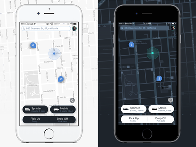 Day & Night WIP discovery find gps search dropoff pickup location map night day ios