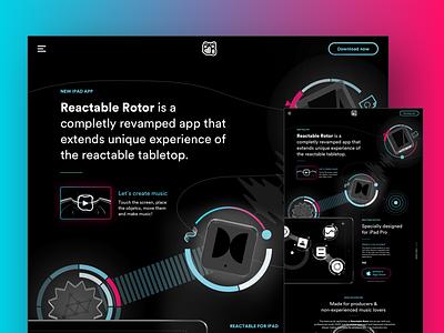Reactable Rotor Landing WIP reactable techno music black website homepage home clean landing dark hud