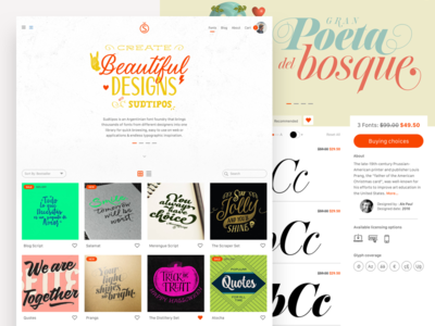 Sudtipos WIP website marketing flat web design landing foundry typography fonts wip