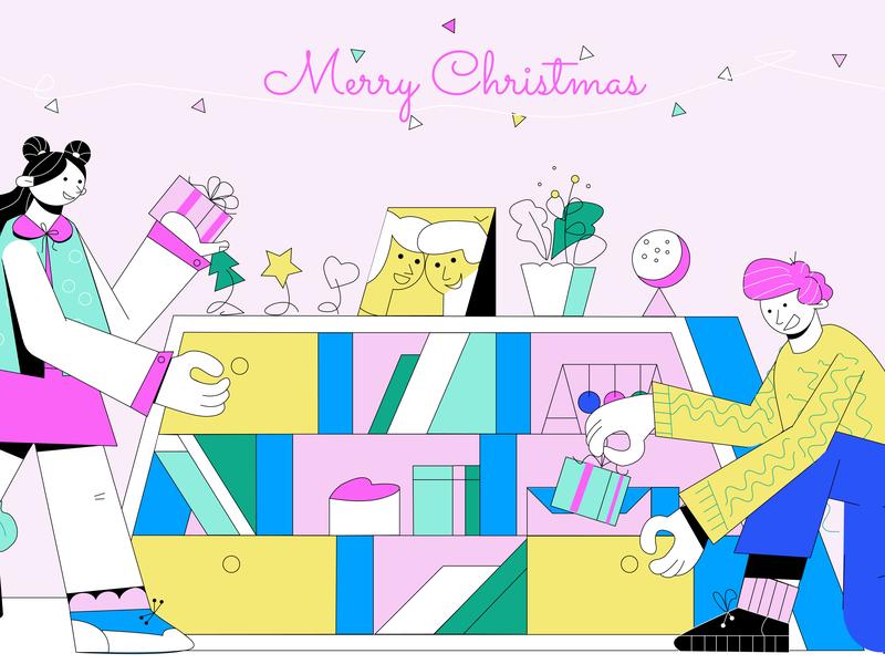 'Merry Christmas' made by animwood.com for crello.com present vectoranimation vector art christmastime christmas