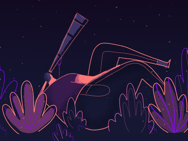 Look at the sky telescope art illustration illustrator photoshop nigth sky