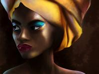 African woman digital painting