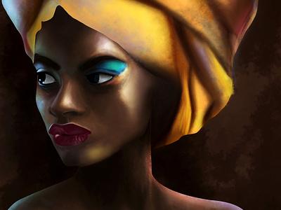 African woman digital painting indian african woman photoshop digital illustration digitalart digital painting portait graphic design chandrani das