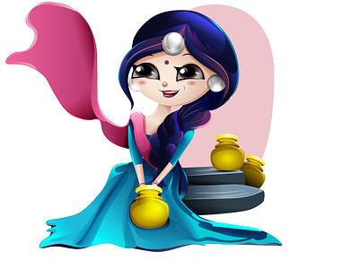Cartoon village girl cartoon digitalart cartoon portrait portait vector drawing illustration graphic design chandrani das