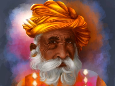 Rajasthani old man digital illustration digitalart design digital painting portait illustration chandrani das