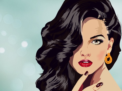 Vector drawing of a Lady With Curl Hair