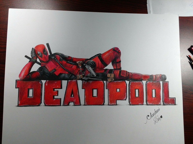 Drawing of Deadpool hand drawing drawing chandrani das