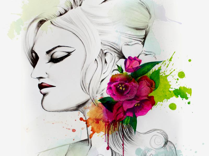 Fashion With  Flower (Hand Drawing) fashion illustration portait hand drawing drawing chandrani das