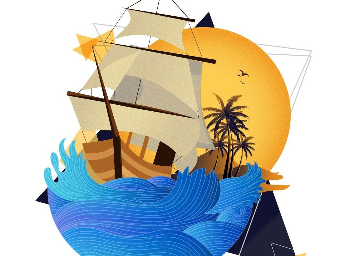 Ship Illustration design vector graphic design illustration drawing chandrani das