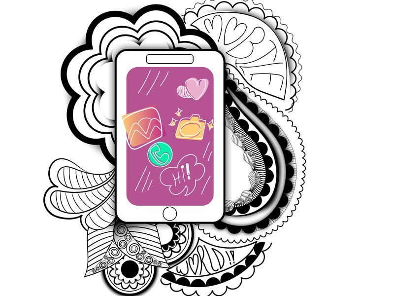 Phone Doodle doodleart doodle vector illustration drawing graphic design chandrani das