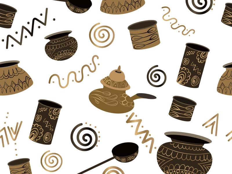 Ancient Utensils Pattern design vector illustration graphic design chandrani das
