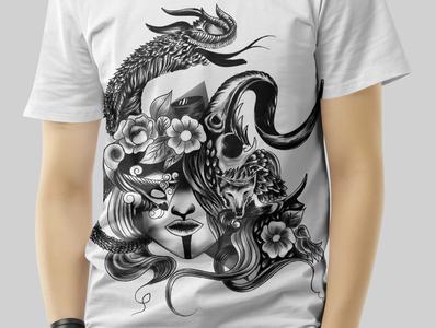 T-shirt design illustration mockup digital painting digitalart hand drawing vector drawing illustration graphic design chandrani das