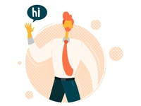 "friendly greeting ""hi"" - Landing page illustration"