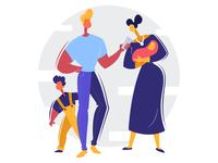 HAPPY INSURED FAMILY - Insurance illustrations