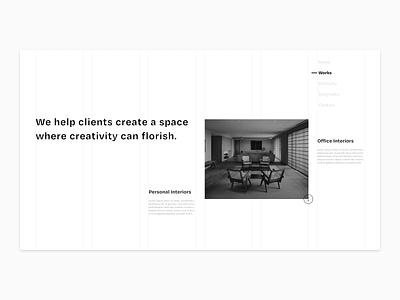 Interiors Weekly - A Portfolio Exploration blackandwhite clean ui typography flat ui minimal design