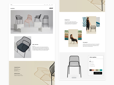 Product landing page - Exploration #2 furniture clean product page simple flat ui typography minimal design